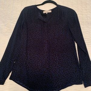 Navy blue leopard button up blouse f